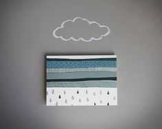 notecard  rain storm blank note card note card  by BranchandOlive on etsy