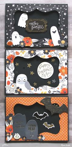 Bootiful Halloween Cards by @reneezwirek using the #MidnightHaunting collection by @pebblesinc #sponsored