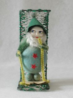 UNUSUAL Vtg CUTE ~ SPUN COTTON ELF on CHAIRLIFT SKIING Christmas Ornament 1950s