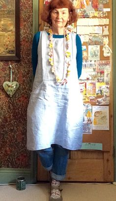 Blue striped linen using Kwik Sew Clothes Pegs, Sewing Clothes, Old Lady Dress, Plus Size Outfits, Trendy Outfits, Granny Chic, Mature Fashion, Advanced Style, Shirt Skirt
