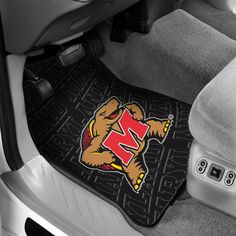 Maryland Terrapins Front Floor Car Mats - set of two floor mats are made of black debossed rubber to accent the vibrant team logo.