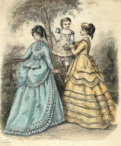 """French Fashion Plate - c1840 - """"""""TWO WOMEN WITH LITTLE GIRL"""""""" - H-C Lithograph"""