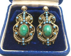 LG-ANTIQUE-AUSTRO-HUNGARIAN-TURQUOISE-SEED-PEARLS-GILT-SILVER-PENDANT-EARRINGS Pendant Earrings, Drop Earrings, Antique Jewelry, Vintage Jewelry, Austro Hungarian, Turquoise, Fine Jewelry, Gems, Pendants