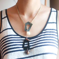 Choke Chain Collar Necklace Wooden Beaded Brown by sanwaitsai