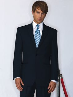 Midnight Blue Suit Ceremonia 2 Button Notch Lapel by Jean Yves - Bunnytuxedos