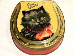 English Mackintosh Cat Toffee Candy Tin 1920s (03/06/2011)