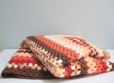 Vintage Crocheted Afghan Blanket - Gorgeous colors of peach, rust, cranberry red, cocoa, espresso, beige and ecru.
