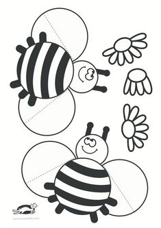 printables for kids Bee Crafts, Diy And Crafts, Crafts For Kids, Arts And Crafts, Paper Crafts, Bumble Bee Birthday, Kawaii Doodles, Animal Crafts, Summer Crafts