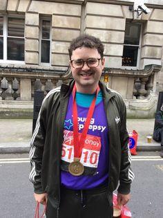 Oliver Lewis sporting his Virgin London Marathon medal!