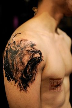 An amazing tattoo of a lion roaring in a sketch style from Tattoo ...