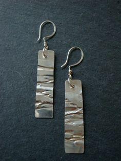Handmade crinkle sterling silver earrings