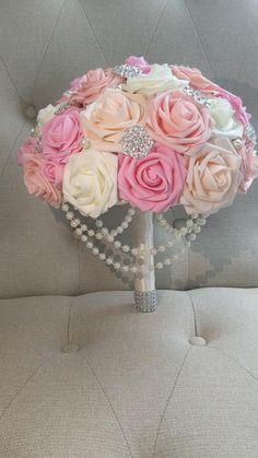 Wedding Brooch Bouquets, Flower Bouquet Wedding, Bridesmaid Bouquet, Bling Wedding Centerpieces, Wedding Decorations, Tan Wedding, Wedding Nails, Pink Bouquet, Bride Hairstyles