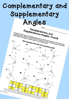 Complementary and supplementary angles puzzle worksheet for high school geometry or algebra class. Angles activity.