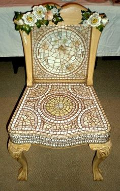 Mosaic Slipper Chair with Toile Flowers..FURNITURE IS ABOUT RECLAIMING THE OLD TO MAKE IT NEW AGAIN. I SCOUR YARD SALES, THRIFT SHOPS AND EVEN SIDEWALK DISCARDS TO FIND OLD CHAIRS AND TABLES THAT JUST NEED SOME TLC AND A PLAN TO REINVENT THEM INTO BEAUTIFUL AND FUNCTIONAL PIECES.