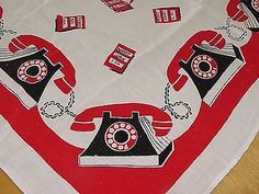 Vintage-40s-50s-Red-Black-Telephones-Novelty-Tablecloth-Collector