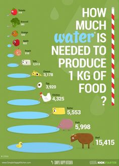 - How much water is needed to produce 1 kg of food? Vegan food consumes less water… How much water is needed to produce 1 kg of food? Vegan food consumes less water, it& better for you and for our planet. Vegan Facts, Vegan Memes, Vegan Quotes, Vegetarian Facts, Vegan Humor, Cake Vegan, Vegetarian Lifestyle, Happy Kitchen, Life Kitchen