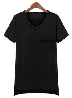 Black Short Sleeve Pocket Asymmetrical T-Shirt US$24.18