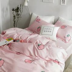 Kawaii Peach Bedding Set - room ideas&deco(home) , Bedroom Sets, Girls Bedroom, Bedroom Decor, Bedroom Shelves, Dream Rooms, Dream Bedroom, Master Bedroom, Peach Bedding, Duvet Bedding