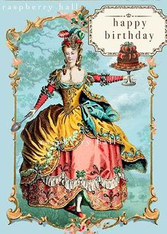 Raspberry Hall on etsy A Marie Antoinette holds a cake on this birthday card Happy Birthday Vintage, Happy Birthday Beautiful, Happy Birthday Images, Vintage Greeting Cards, Birthday Greeting Cards, Birthday Greetings, Happy Birthday Celebration, Happy Birthday Wishes, French Images
