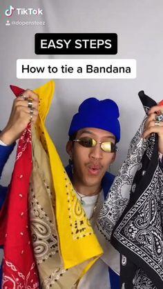 Bandana Styles, Scarf Styles, Diy Fashion, Fashion Outfits, Guy Outfits, Hip Hop Outfits, Mens Fashion, How To Tie Bandana, Cholo Style