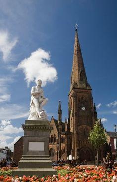 Burns' Statue - Dumfries, Scotland - My 5th great-grandfather, Abraham Johnson is from here.