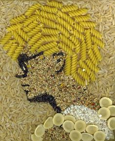 """Pasta Adam Clayton"" by Kelly Eddington: Tastless but kind of great portrait of a young, afro-ed Adam Clayton made with pasta and seeds. Art For Kids, Crafts For Kids, Arts And Crafts, Macaroni Art, Seed Craft, Pasta Crafts, Pasta Art, Bible School Crafts, Organic Art"