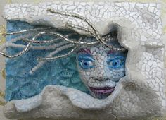 "Linda Biggers ""Lady Winter"" Tempered Glass, polymer clay, beads and eggshells."