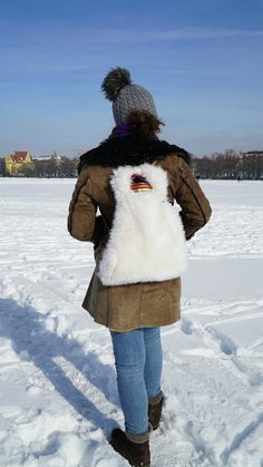 Items similar to Faux fur backpack white on Etsy Fur Backpack, Stylish Backpacks, Red Leather, Faux Fur, Winter Hats, Etsy, Fashion, Moda, La Mode