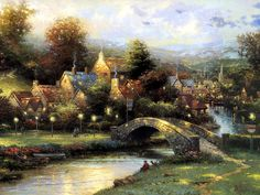 Lamplight Village <3 Thomas Kinkade  I have the collectable village, just beautiful