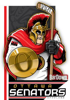 Our good friend #EPoole88 (Eric Poole) is getting ready for the upcoming season with cartoon renderings of each team. This is the Ottawa Senators. #TSN #BarDown