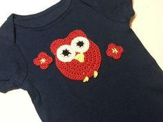 Crochet Owl Onesie in Dark Blue for Baby Girls 0 to by PoochieBaby, $15.00