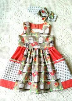 Girl summer dress coral birdsdots pockets open back