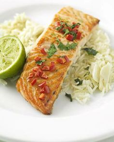 Low FODMAP Recipe and Gluten Free Recipe - Grilled chili & cilantro salmon with ginger rice