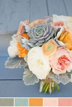 peach, mustard and pale pink bouquet with minty succulents and dusty miller