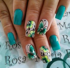 New nature green art inspiration Ideas Cute Acrylic Nails, Acrylic Nail Designs, Cute Nails, Pretty Nails, Nail Art Designs, Butterfly Nail Art, Flower Nail Art, Beautiful Nail Art, Beautiful Nail Designs