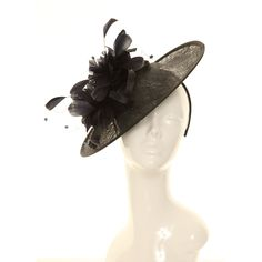 Wedding Fascinator Hat - Black Feather Disc Sinamay