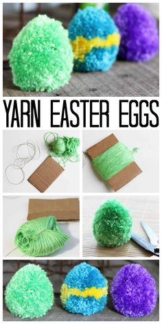 How to Craft Pom Pom Easter Eggs from Yarn Making pom pom Easter eggs from yarn in minutes! A quick and easy project that adults and kids will love! The post How to Craft Pom Pom Easter Eggs from Yarn appeared first on Yarn ideas. Easter Crafts For Kids, Crafts For Teens, Projects For Kids, Bunny Crafts, Easter Activities, Easter Ideas, Art Projects, Pom Pom Crafts, Yarn Crafts
