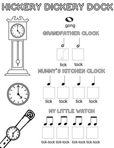 Let's Play Music : Free Music Theory Worksheet - The Clock Song - A Fun Way to Teach Kids Musical Note Values A fun exercise to help kids learn their musical note values. The clock song is an easy and fun way to introduce kids to music theory. Lets Play Music, Music For Kids, Fun Music, Preschool Music, Music Activities, Music Education Games, Kindergarten Music, Piano Lessons, Music Lessons