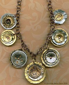 Smashed Button Necklace with Handmade Brass Chain, by Christine Marie Davis, an artist who creates jewelry from salvaged metal & buttons