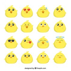 (Funny Emoji) free vector flat emoji collection of funny chick_1002081