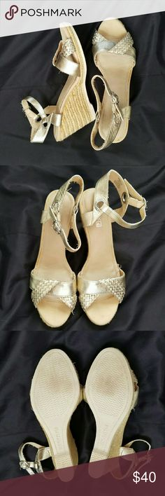 """Gold Sperry Top-Sider Wedges Gently worn gold Sperry Top-Sider Wedges. Toe has solid gold colored strap wrapped with a woven gold colored strap, a cute detail! Adjustable ankle strap. 4"""" heel. Sperry Top-Sider Shoes Wedges"""