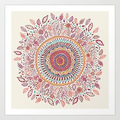 Sunflower Mandala Art Print by Janet Broxon - $16.00