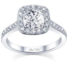 Halo engagement ring with micropave diamonds and milgrain detail from our Bel Dia Collection. These rings first became popular in the 1920's.
