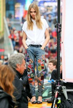 Cara in patched denim