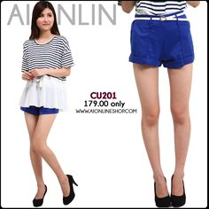 Stretchable Shorts with Thin Belt - P179.00 only!! Find this and more at http://aionlineshop.com/ <3