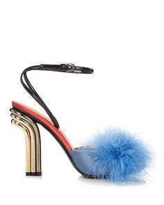 Marco De Vincenzo   Multicolor Feather-embellished Mid-heel Sandals   Lyst