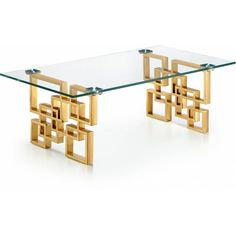 Geometric, sculptural stainless steel legs on the Meridian Furniture Inc Pierre Gold Coffee Table are finished in gleaming gold. Gold Furniture, Iron Furniture, Unique Furniture, Furniture Design, European Furniture, Meridian Furniture, Reclaimed Wood Coffee Table, Home Furnishings, Decoration