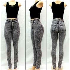 New High Waist/Rise acid Wash Destroyed DISTRESSED Skinny Jeans ...