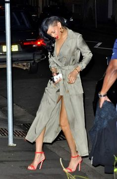 In Sydney in a Topshop trench coat doubled as a dress with Sergio Zelcer shoes.