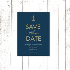 Anchor Save The Date Modern Nautical Save The by MooseberryPaperCo